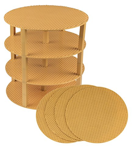 Classic Stackable 12 Circle Baseplate Brik Tower by Strictly Briks   Building Brick Set   100% Compatible with All Major Brands   4 Base Plates & 30 Stackers   Gold