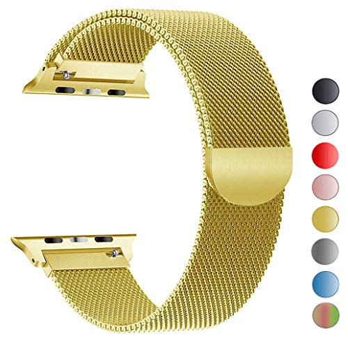 Seoaura Compatible Apple Watch Band 42mm 44mm, Stainless Steel Milanese Loop Replacement Strap with Magnetic Closure iWatch Series 4 3 2 1 Sports (Gold, 42mm/44mm)