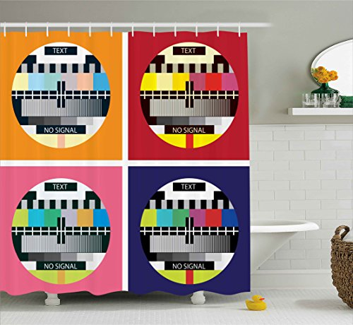 Modern Decor Shower Curtain by Ambesonne, Television Radio Channel Signal Digital Sign in Four Collage Artwork Image, Fabric Bathroom Decor Set with Hooks, Multicolor 51g gnN0VxL