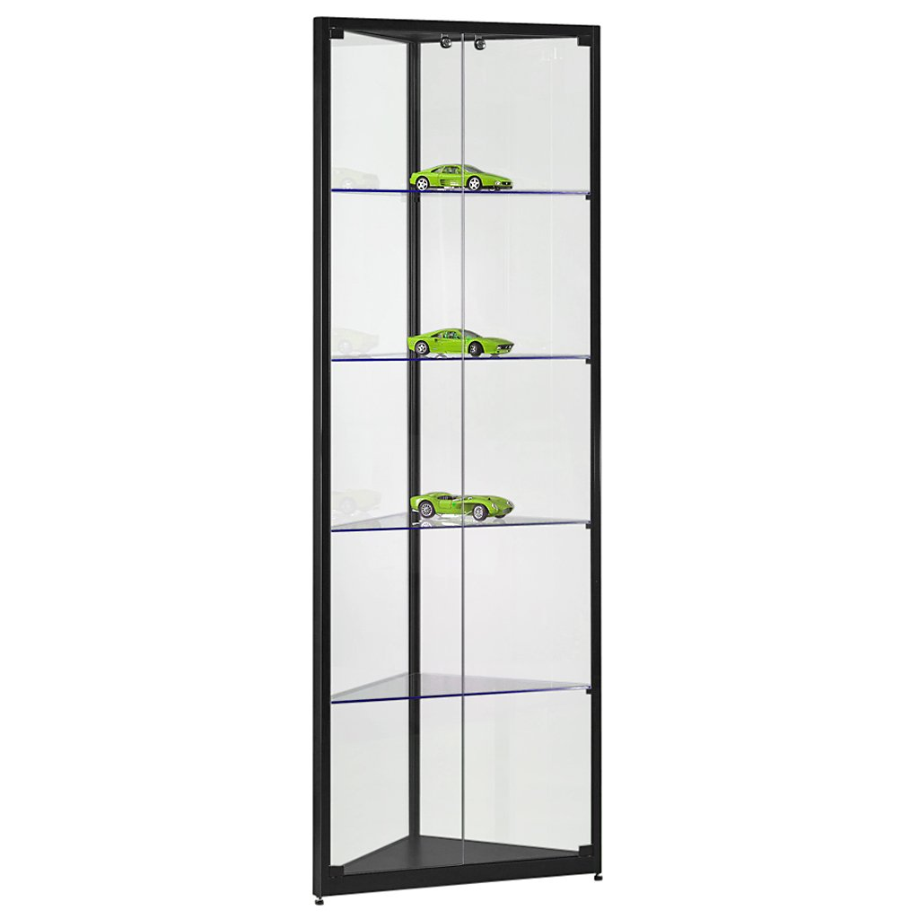 eckvitrine glasvitrine standvitrine sammlervitrine eco 500 alu schwarz glas abschlie bar g nstig. Black Bedroom Furniture Sets. Home Design Ideas