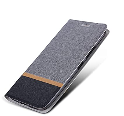 new product 17eed a52db Tarkan Luxury Vivo V9 / V9 Youth Flip Cover - Leather Textured Back Stand  Wallet Case with Card Slot (Grey)