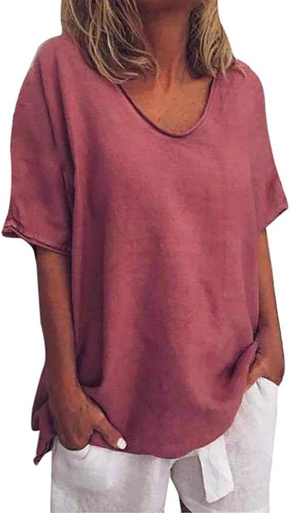 JURTEE Womens Summer Plus Size Pullover T-Shirt Casual Short Sleeve Beach T-Shirts O-Neck Solid Color Daily Wild Shirt Tops