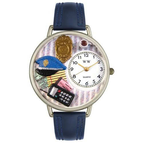 Police Officer Watch in Silver (Unisex) - Navy Blue Padded Wristband