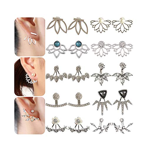 10 Pairs Rose Gold Silver Hollow Lotus Flower Earrings Simple Chic Crystal Pearl Turquoise Stud Earrings Set Gift
