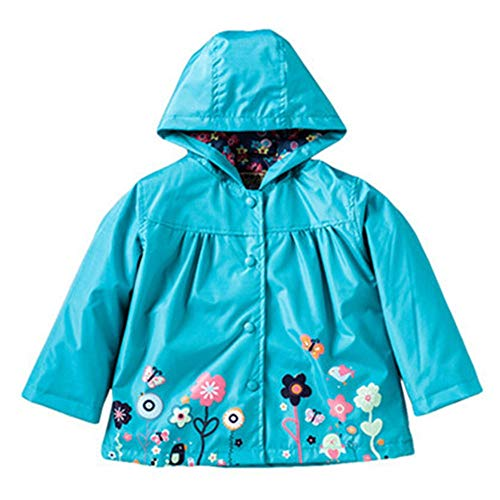 - FEITONG Girls Clothes Jacket Kids Cute Flower Raincoat Coat Hoode Outerwear Jacket(18-24M,Green)