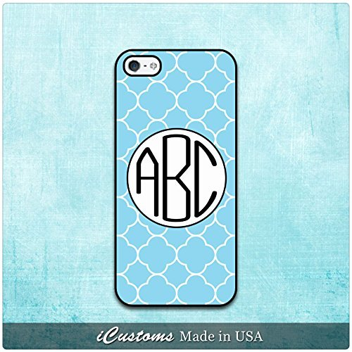 Clover Blue Monogrammed Cover, Case Rubber Black For iPhone 6 Plus, iPhone 6 4.7
