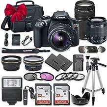 Canon EOS Rebel T6 DSLR Paquete fotográfico con lente Canon EF-S 0.7-2,1 pulg f/3.5-5.6 IS II, lente Canon EF 2,9-11,8 pulg f/4-5.6 III, 2 tarjetas de memoria SanDisk de 32GB y kit de accesorios