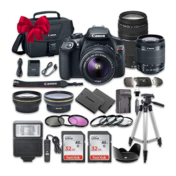 Canon EOS Rebel T6 DSLR Camera Bundle with Canon EF-S 18-55mm f/3.5-5.6 IS II Lens + Canon EF 75-300mm f/4-5.6 III Lens + 2pc SanDisk 32GB Memory Cards + Accessory Kit - 51g iAmZufL - Canon EOS Rebel T6 DSLR Camera Bundle with Canon EF-S 18-55mm f/3.5-5.6 IS II Lens + Canon EF 75-300mm f/4-5.6 III Lens + 2pc SanDisk 32GB Memory Cards + Accessory Kit