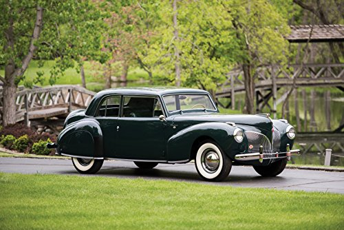 (Lincoln Continental Coupe (1941) Car Print on 10 Mil Archival Satin Paper Black Front Side Static View)