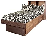 Forest Designs Bullnose Platform Bed with Bookcase Headboard, Twin, Mahogany Alder