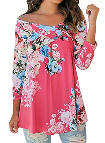 Dokotoo Womens Summer Ladies Amazon Casual Off The Shoulder Long Sleeve Floral Print Blouses Tops Shirts Rose - Pink Floral Shirt