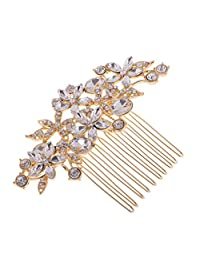 Jili Online Flower Rhinestone Crystal Wedding Bridal Gold Hair Comb Headpiece Accessory