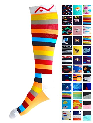 Compression Socks (1 pair) for Women & Men - Best Graduated Athletic Fit for Running, Nurses, Flight Travel, & Maternity Pregnancy - Boost Stamina, Circulation & Recovery (Summer Stripes, L/XL) (Summer Accessory)