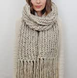 Oversized Knit Scarf with Fringe (Choose your Color) | THE LONDON