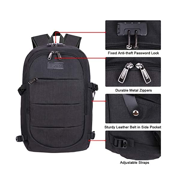 Travel Laptop Backpack Water Resistant Anti-Theft Bag with USB Charging Port and Lock 14/15.6 Inch Computer Business Backpacks for Women Men College School Student Gift,Bookbag Casual Hiking Daypack
