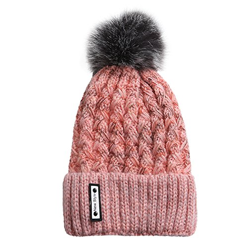 DongDong Fashion Knitted Hat, Unisex Hairball Beanie Winter Warm Crochet Knit Cap