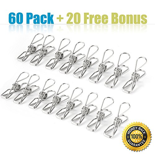 80pack clothespins tiny metal stainless steel clothespin, multipurpose peg clothes pin 2.2'' for laundry clothes from socks, scarves to jeans, uniform heavy duty clothespin&decorative clothespins by iTOWE (Image #1)