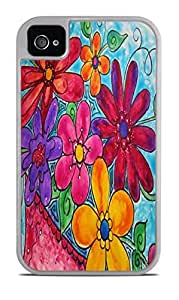 Garden of Flowers White 2-in-1 Protective Case with Silicone Insert for Apple iPhone 4 / 4S by icecream design