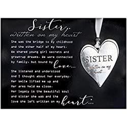 Sister Pewter Memorial Heart Boxed Gift Ornament with Sentimental Poem