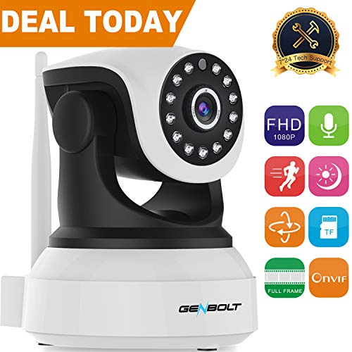 1080P WiFi IP Surveillance Camera - GENBOLT Pan Tilt Wireless Home Security  Camera System with 40ft Night Vision,Pet Dog Nanny Baby Monitor Camera