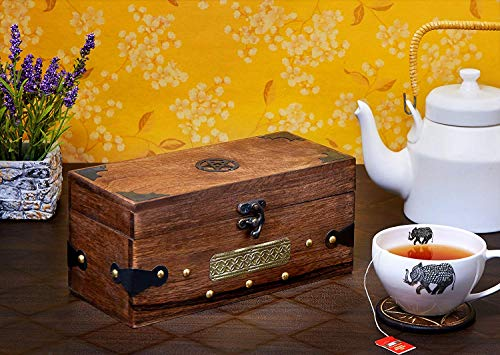 Eximious India Mother's Day Specials Wooden Tea Caddy Storage Chest Tea Box with Equally Divided Compartments - Rustic Finish Mango Wood Beautiful Gift on All Occasions (Design 5)