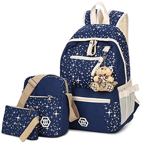 Cute Lightweight Canvas Backpack Set 3 Pieces Bookbag School Backpack for Girls (Piece Set Books 2)
