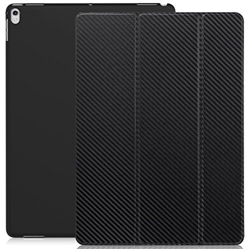 KHOMO iPad Pro 12.9 Inch Case 2017 2nd Gen. - Dual Carbon Fiber Super Slim Cover with Rubberized Back and Smart Feature ()