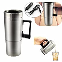 Raza Simple 12v 300ml Portable in Car Coffee Maker Tea Pot Vehicle Heating Cup Lid Outdoor Water Bottle Vacuum Flask Thermoses