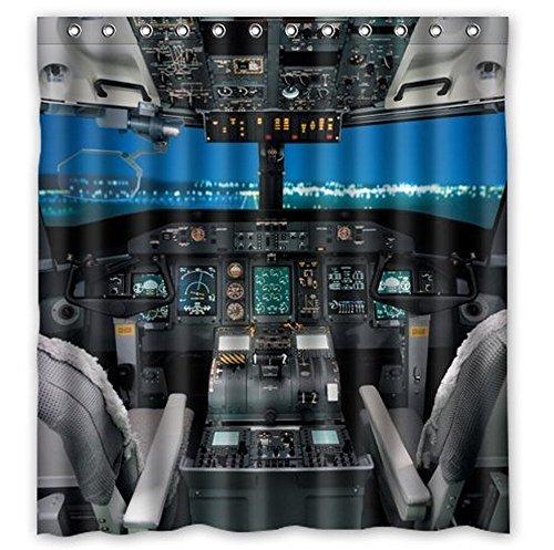 I-Manggo Custom Cool Airplane Cockpit Bathroom Shower Curtain,72x72 - Custom Cockpit