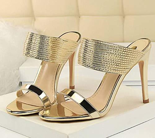 Elegantes Tacón Alto De Zapatos Con Wisdom Redondos Metal Elementos Y Zapatillas Oro Mujer Súper tfExqtXw