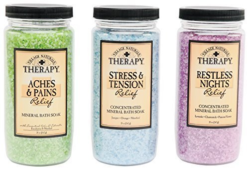 Village Naturals Therapy Mineral Bath Soak Variety Set 3 Pack - Restless Nights, Aches & Pain, Stress & Tension (20oz Jars) (Bath Therapy Set)
