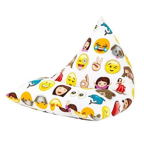 Ready Steady Bed Emoji Emoticons Print Pyramid Shaped Fun Children's Filled Bean Bag