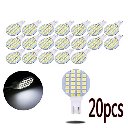 runmade 20pcs T10 24SMD 2835 Warm White 5000K Car Side Wedge Dome Bulb W5W 194 White Car Led Reading Interior Light,Ceiling Lights, Pendant Lights, Desk Lamps, Table Lights, Puck Lights Bulb