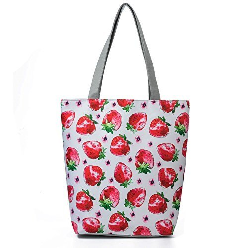 6a56ab5bdef0e Image Unavailable. Image not available for. Color: Casual Tote Bags Female  Strawberry Printed Shoulder Bag Women Canvas ...