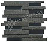 Box 10 Tiles Black Glass & Ceramic Mosaic Tile 12''x12'' PARMA-MX006 (10)