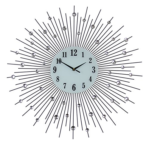 IGD Elegant Bejeweled Spike Round Wall Clock in Black with Crystal Accents (Spike Clock)
