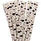 Black and White Birch Tree Paper Straws (25)
