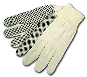 MCR Safety 8808S Cotton Canvas Dotted Economy Weight Knit Wrist Men's Gloves with Straight Thumb, White, Large, 1-Pair