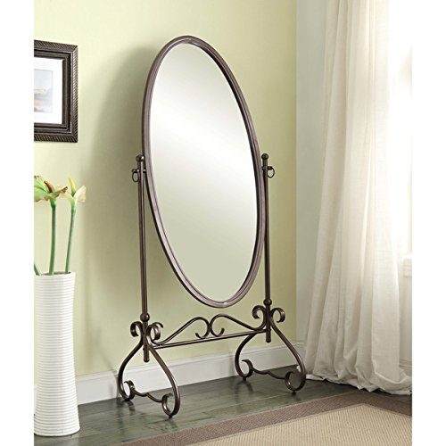 Cheval Floor Mirror in Country Style Angelica 26 x 63-inch Metal Oval Cheval Mirror. Assembly Required