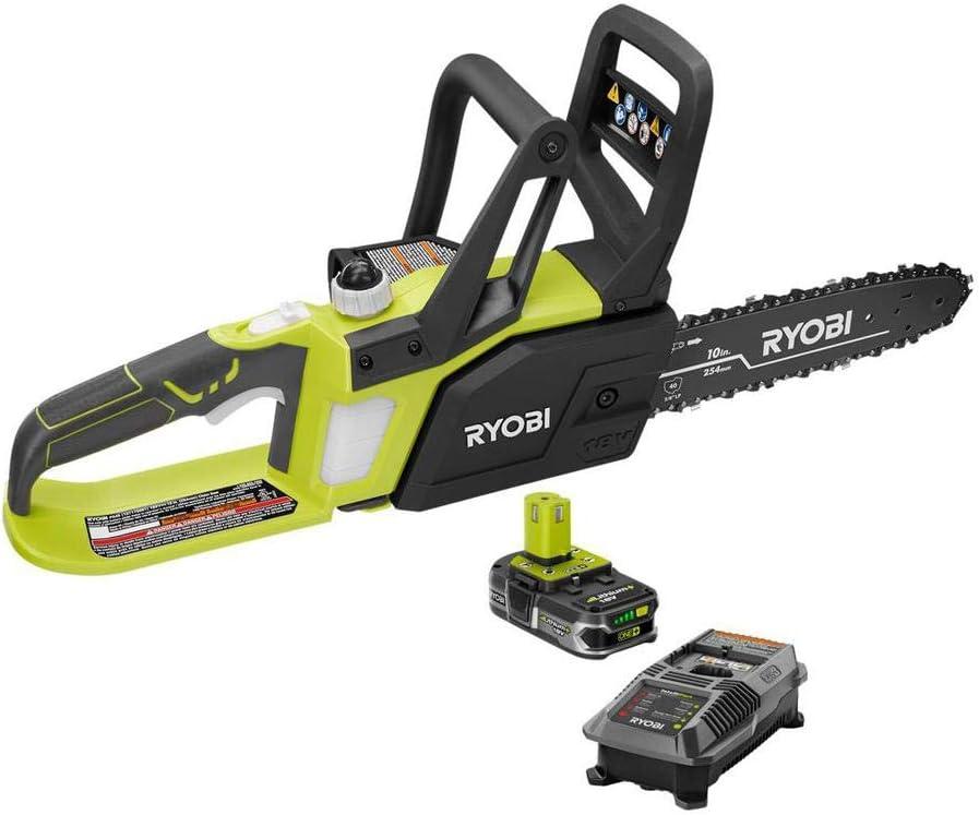 1. Ryobi P547 10 In. ONE+ 18-Volt Lithium+ Cordless Chainsaw Kit