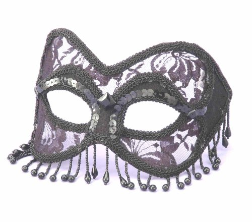 Forum Novelties Women's Venetian Style Lace Half Mask with Beads, Black, One Size for $<!--$15.87-->