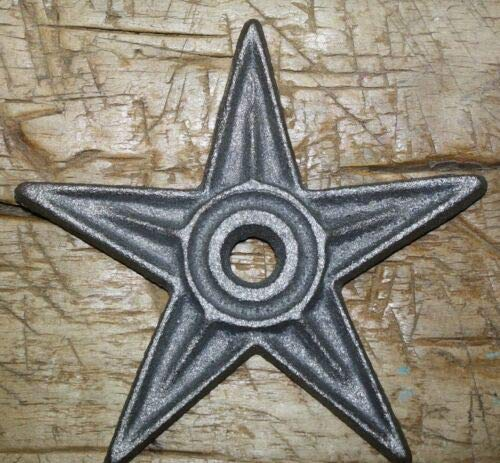 JumpingLight 5 LG Cast Iron Stars Architectural Stress Washer Texas Lone Star Rustic Ranch 6'', Cast Iron Decor for Vintage Industrial Home Accessory Decorative Gift