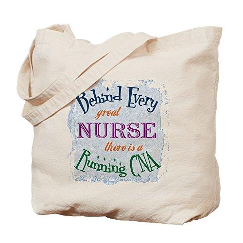 CafePress–detrás de enfermera, Running CNA–Gamuza de bolsa de lona bolsa, bolsa de la compra