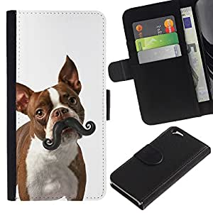 Stuss Case / Funda Carcasa PU de Cuero - Boston Terrier Humunga Moustache Dog - Apple Iphone 6