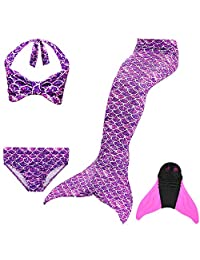 Girls Mermaid Tails for Swimming & Diving with Monofin,Bikini Bathing Suit Set Cosplay Princess Gift for Kids