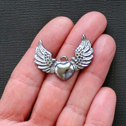 Pendant Jewelry Making for Bracelets and Chains 6 Winged Heart Charms Gunmetal Tone - SC1479 ()