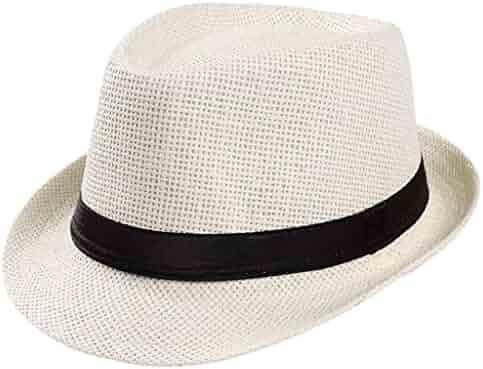 22de4fa4a15edc Hats GREFER Straw Hat Panama Sun Summer Beach Hat Cuban Trilby for Men  Women Packable