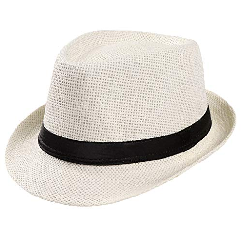 Unisex Packable Wide Brim Roll Up Fedora Straw Hat Fine Braid Floppy Panama Summer Beach Leather Belt Uv Protection Sun Hat Cuban Party Church Trilby Hat for Women Men Outdoor Travel (White)