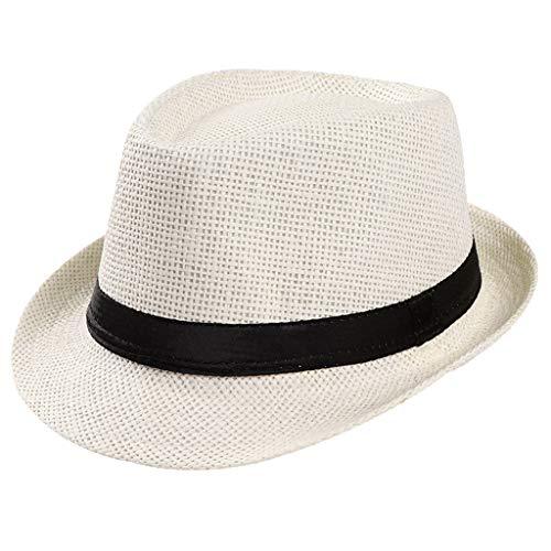 Dressin Straw Hats Fedora Panama Sun Summer Beach Hat Cuban Trilby Men Women Gangster Cap Beach Band Sunhat White]()