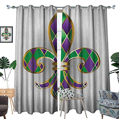 (Fleur De Lis Thermal Insulating Blackout Curtain Gold Colored Lily Symbol with Diamond Shapes Royalty Theme Ancient Art Patterned Drape for Glass Door W84 x L108 Gold Purple Green)